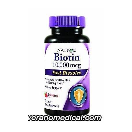 Natrol Biotin Fast Dissolve Fraise Naturelle - 10000 mcg - 60 Comprimés