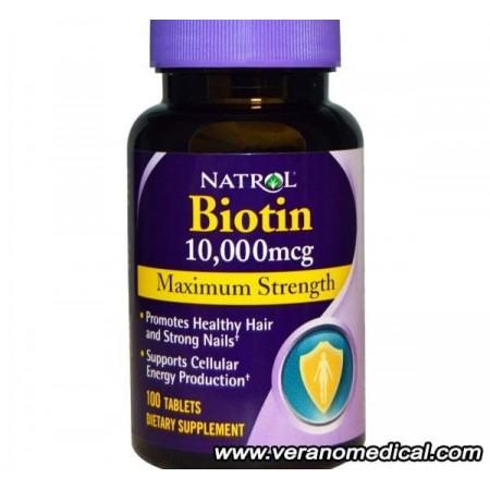 Natrol, Biotine, Force maximale, 10 000 mcg, 100 comprimés