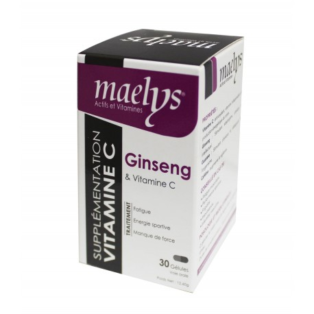 Maelys Ginseng et vitamine C 30 gélules