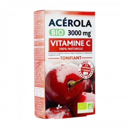 Acérola vitamine C 3000 mg 21 comprimes à croquer