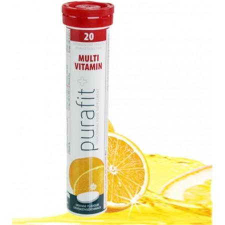 Purafit+ Multivitamine sans sucre au Goût orange 20 comprimés effervescents