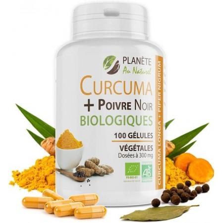 """Curcuma et Poivre Noir Bio - 300 mg - 100 gélules végétales """"gph"""""""