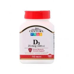 Vitamine D3, 25 mcg (1000 UI), 110 comprimés