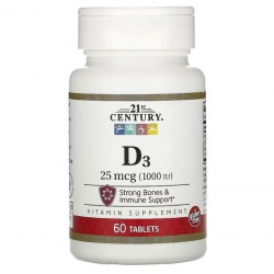 VITAMINE D3 25 mcg (1,000 IU), 60 tablets